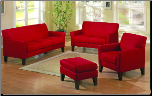 Microfiber Living Room Set in Contemporary Style, 'Petite' Collection by Homelegance. (SKU: HE-Petite9913RD -LVNGSET)