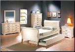 Louis Philippe Youth Bedroom Set in Creamy Antique White Finish by Coaster - 400001 (SKU: CO-400001-TBSET)