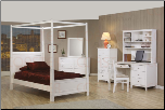Kelly Youth Canopy Bed Bedroom Set in White Finish by Coaster - 400230 (SKU: CO-400230-TBSET)
