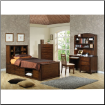 Phoenix Collection Bedroom Furniture Set with Chest Bed in Rich Deep Walnut Finish by Coaster - 400280 (SKU: CO-400280-TBSET)