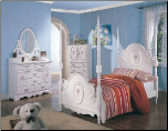 Sophie Poster Bed Bedroom Furniture Set in White Finish by Coaster - 400100 (SKU: CO-400100-FBSET)