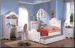 Sophie Panel Bed Bedroom Furniture Set in White Finish by Coaster - 400101 (SKU: CO-400101-TBSET)