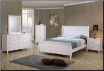 Kelly Youth Sleigh Bedroom Furniture Set in White Finish by Coaster - 400231