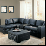 Coaster 502211L Sebastian Black Bonded Leather Sectional Sofa Set