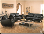 Piven 2 Piece Living Room Set in Black Bonded Leather Upholstery by Coaster (SKU: CO502351S)