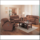 Michelle 2 Piece Motion Sofa Set in Chocolate Microfiber by Coaster - 600411S (SKU: CO600411-RLR-SET)