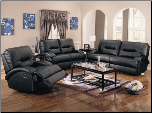Lowell Black Reclining Living Room Collection - 600511 - Coaster Furniture (SKU: CO600501-RLR-SET)