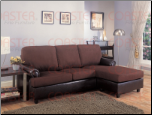 Rupard Brown Microfiber/Vinyl Sofa Chaise Reversible Sectional  Set by Coaster - 500605 (SKU: CO -500605-SEC)