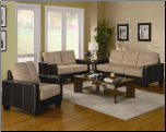 Regatta Khaki Microfiber/Dark Brown Vinyl 3 Piece Living Room Set by Coaster - 500100 (SKU: CO -500100 -LRSEC)