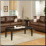 Bobkona 2pc Walnut Leather Sofa and Loveseat Set F7322
