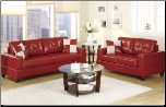 Bobkona 2pc Red Leather Sofa and Loveseat Set F7324 (SKU: PXSS-F7324-LRS)