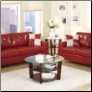 Bobkona 2pc Red Leather Sofa and Loveseat Set F7324