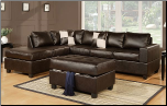 Poundex 7351Leather Match/Espresso Brown Leather Sectional (SKU: PXSS-7351-SECTIONAL)