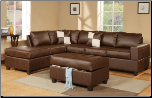 Poundex 7352 Leather Match/Walnut Espresso Brown Leather Sectional (SKU: PXSS-7352-SECTIONAL)