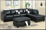 2-Pcs Sectional Sofa Leather Match Black Sectional