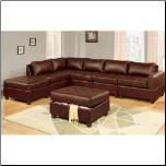 6PC Brown bonded leather modular sectional