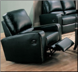 Coaster Kemper Dual Reclining Rocker Recliner in Black Bonded Leather - 600423 (SKU: CO-600423RB)