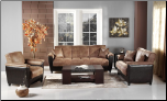 Aspen Mocha Microfiber and Bonded Leather Base 2 Pcs Living Room Set (Sofa and Loveseat ) - Sunset Furniture - Istikbal