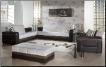 Moon 2 Pcs Convertible Sectional Sofa Set in Platin Cream - Sunset Furniture-Istikbal (SKU: IS-Moon-SSet-CR)