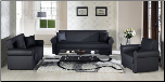 Floris 2 Pcs Living Room Set In Escudo Black PU (Sofa and Loveseat) - Sunset Furniture - Istikbal