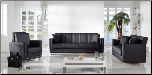 Toledo Leatherette 2 Pcs Living Room Set in Escudo Black (Sofa and Loveseat) - Sunset Furniture-Istikbal (SKU: IS-Toledo-Set-BL)