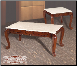 Beige Marble Cocktail Table Set with Cherry Finish