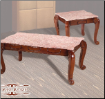 Pink Marble   Cocktail Table Set with Cherry Finish (SKU: EM-232P)