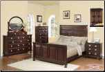 Brooke- Luxurious Espresso  Finished 6 PCS Complete Bedroom Set with Panel Bed (SKU: EM-Brooke-QSET)