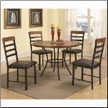 5 Piece Dining Set with Round Pedestal Table and Ladderback Chairs