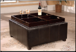 Black Leather Traditional Cocktail Ottoman w/Open Base Storage