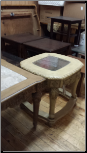 FLOOR SAMPLE END TABLE  WITH GLASS TOP