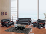 Global  -  Grandiose Curvy Wood and Leather Sofa and Loveseat Set by Global USA (SKU: GL-L2033-BLSET)