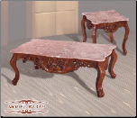Pink Marble   Cocktail Table Set with Cherry Finish (SKU: EM-231P)