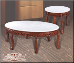 White Marble Cocktail Table Set with Cherry Finish (SKU: EM-266W)