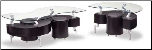 Occasional Table Set with Curved Glass Tops by Global USA, (SKU: GL-288B-CTSET)