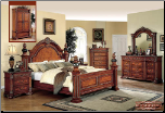Royal - Medium Brown Finished Bedroom Set with Carved Elements (SKU: EM-Royal-PanelQset)