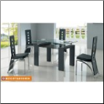 Contemporary Dinette  Set Table With Extendable Glass Top
