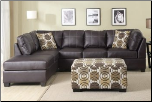 POUNDEX Furniture - Avalon Dark Mahogany Leather Sectional Sofa - F7461 (SKU: PXSS-7461-SECTIONAL)