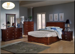 Syracuse Black Cherry Low Profile Bedroom Set (SKU: HE-578LP-QBS)