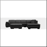 ITALIAN BLACK LEATHER SECTIONAL by J&M Furniture (SKU: JM-625-BK)