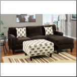 poundex  2 pc Chocolate microfiber fabric upholstered sectional sofa with reversible chaise (SKU: PXSS-7413-4-SEC)
