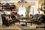 675  Leather 2 PC Living Room Set (Sofa and Loveseat)
