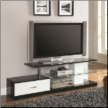 Black, Silver and White TV Stand with Drawer and Glass Shelf by Coaster