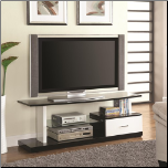 Black and White TV Stand with Shelf and Drawer by Coaster