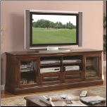 Casual TV Console with Glass Doors and Cherry Wood Finish