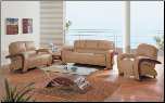 Global  - Stylish Three-Piece Leather Set in Tan Color Upholstery by Global USA (SKU: GL-L705-TSET)