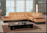 Practical Tan Leather Modern Sectional Set By Global Furniture (SKU: GL-771F-SECSET)