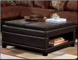 Dark Brown Faux Leather Upholstered Ottoman with Unusual and Versatile Design, Interval Collection (SKU: AB79101-OTTOMAN)