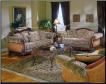 Spanish Styled Living Room Set in Warm Cherry Finish, 'Barcelona' Collection by Homelegance. (SKU: HE-8299F-LVNGSET)