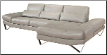 833 Contemporary Top Grain Gray Italian Leather Sectional by Nicoletti